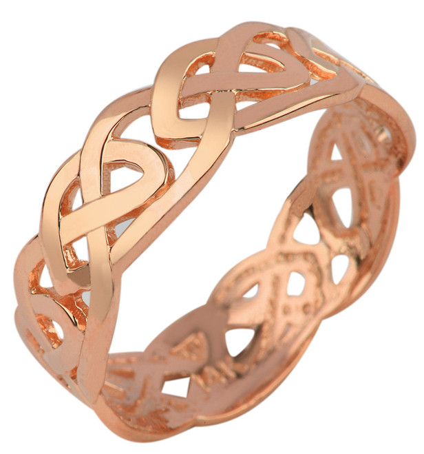 Rose Gold Celtic Trinity Knot Ring