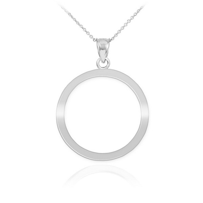 White Gold Circle Of Life Karma Pendant Necklace