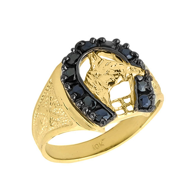 10k Solid Gold Men's Black Onyx Horseshoe Ring