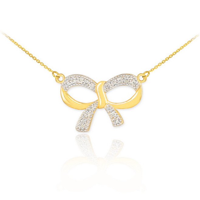 14K Polished Gold Diamond Bow Necklace