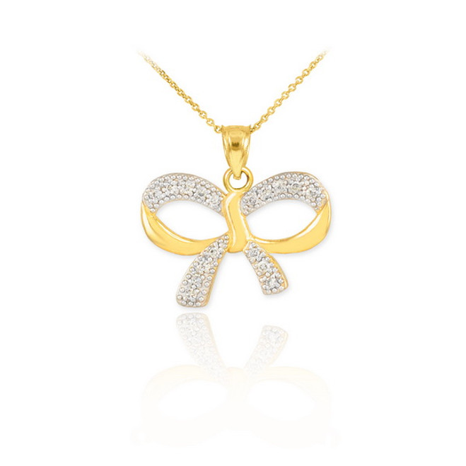Polished Gold Diamond Bow Pendant Necklace