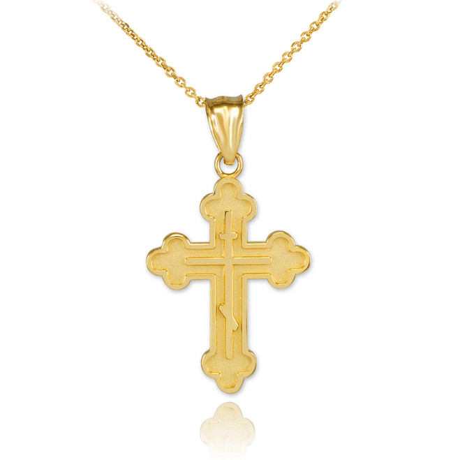 Solid Gold Eastern Orthodox Cross Charm Pendant Necklace