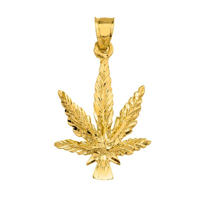 10k Yellow Gold Marijuana Charm Pendant
