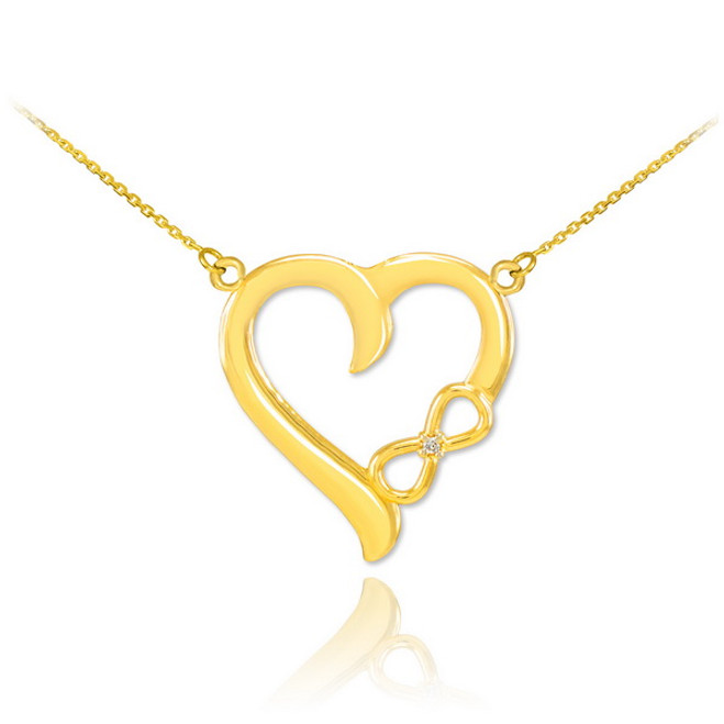 gold infinity heart diamond necklace