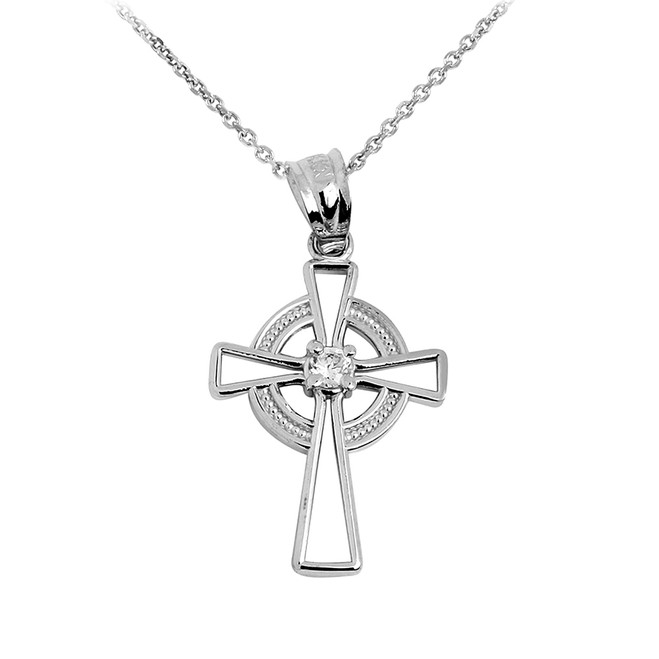 Silver Irish Celtic Cross Pendant Necklace