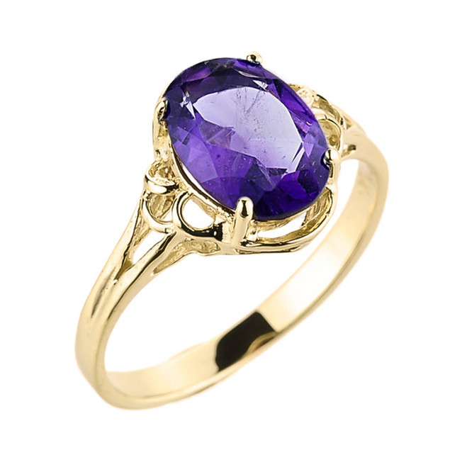 Yellow Gold Genuine Amethyst Gemstone Ring