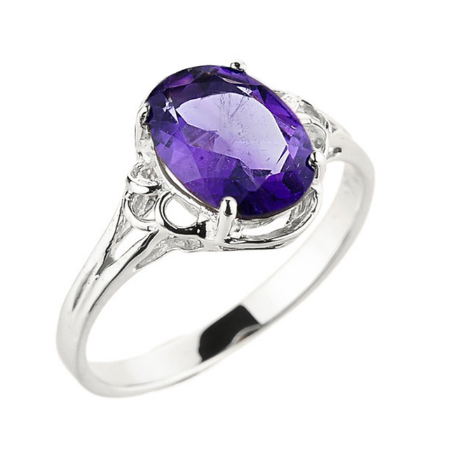 White Gold Genuine Amethyst Gemstone Ring