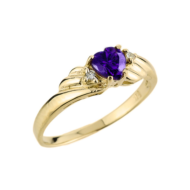 Gold Amethyst Gemstone Ladies Ring