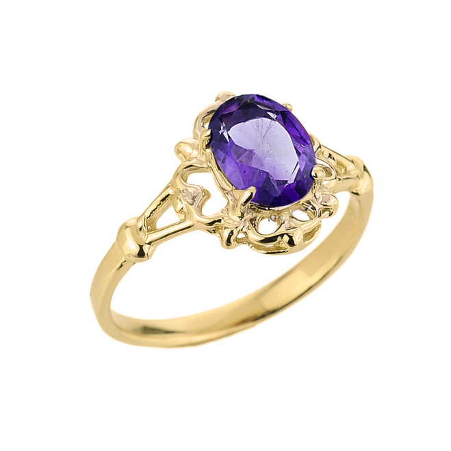Oval Shaped Amethyst Gemstone Ring