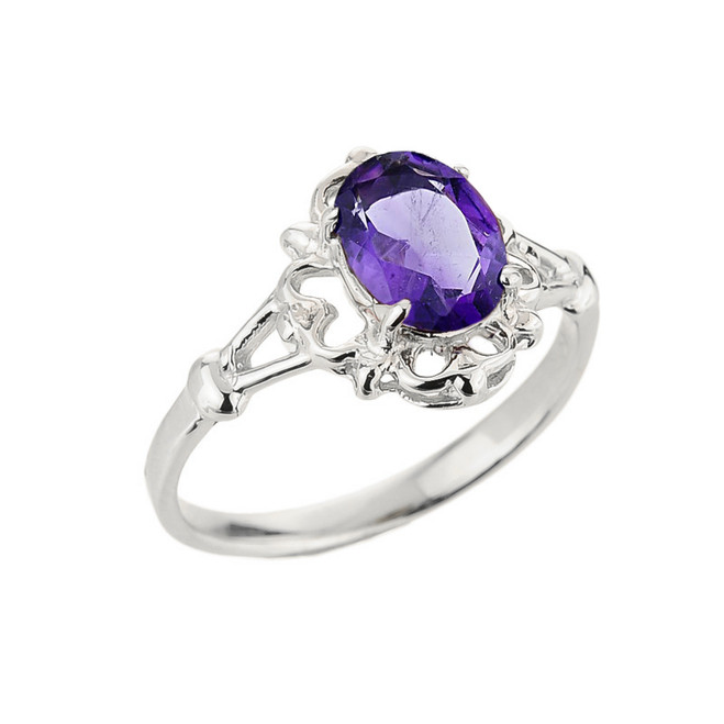 White Gold Oval Shaped Amethyst Gemstone Ring
