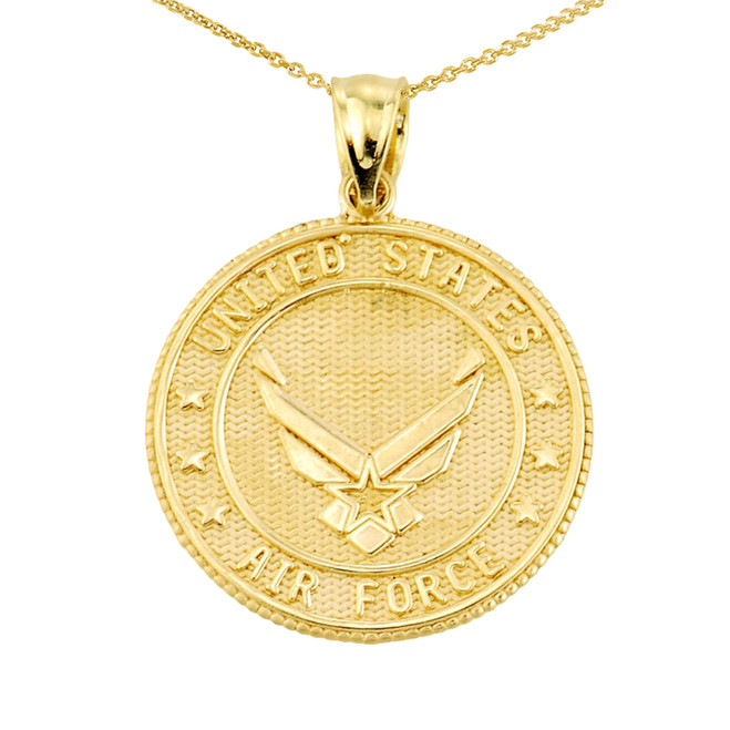 US Air Force Gold Coin Pendant Necklace