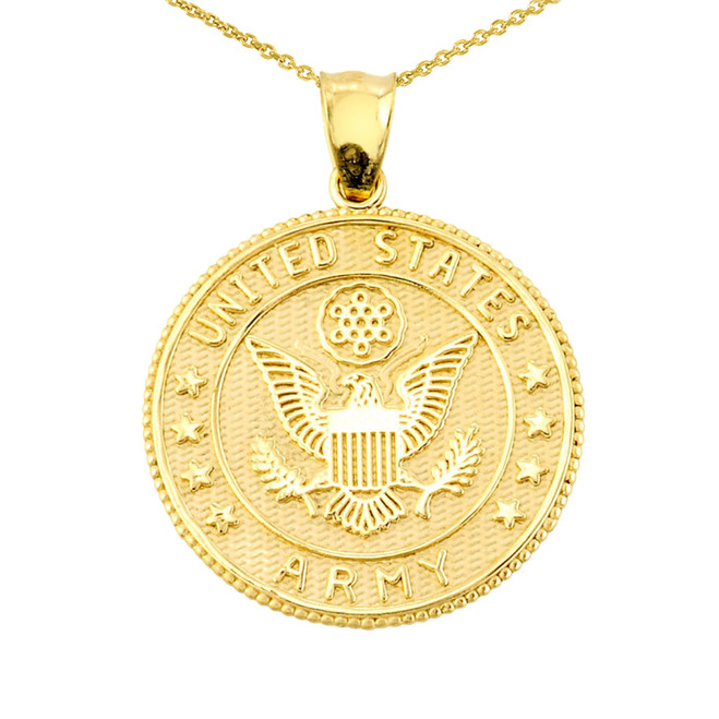 Solid Gold US Army Coin Pendant Necklace
