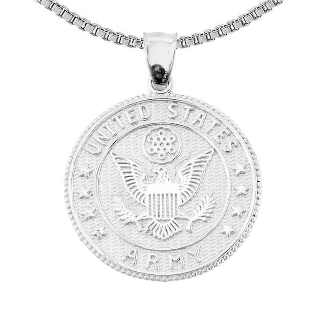 Sterling Silver US Army  Coin Pendant Necklace