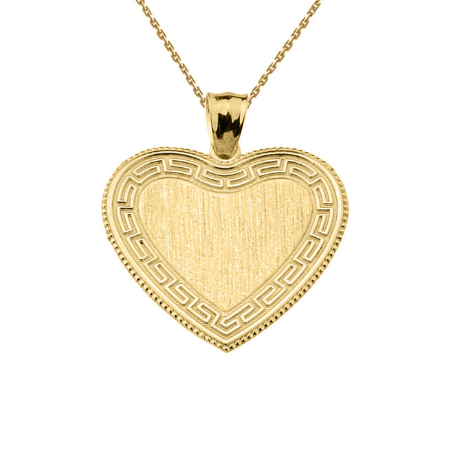 Greek Key Yellow Gold Engravable Heart Pendant