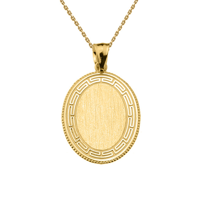 Greek Key Yellow Gold Engravable Oval Pendant