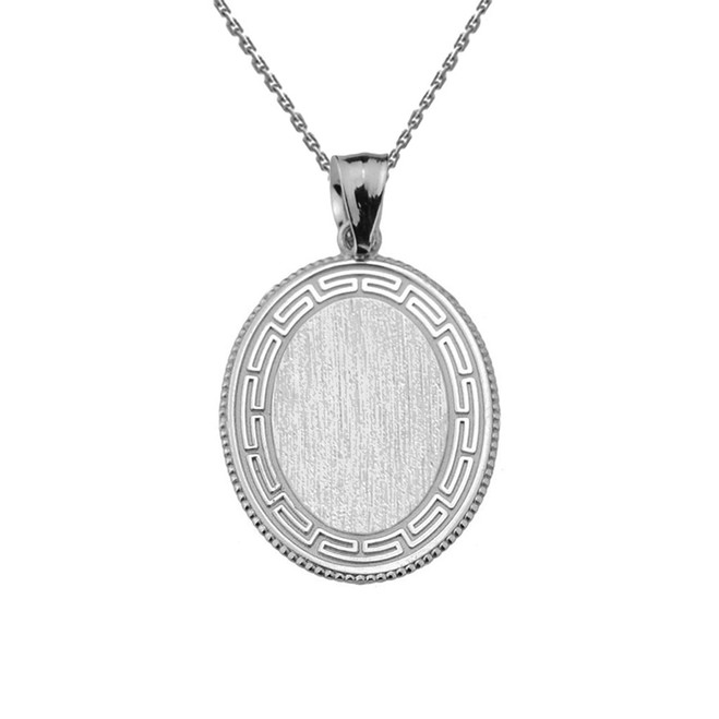 Greek Key Sterling Silver Engravable Oval Pendant
