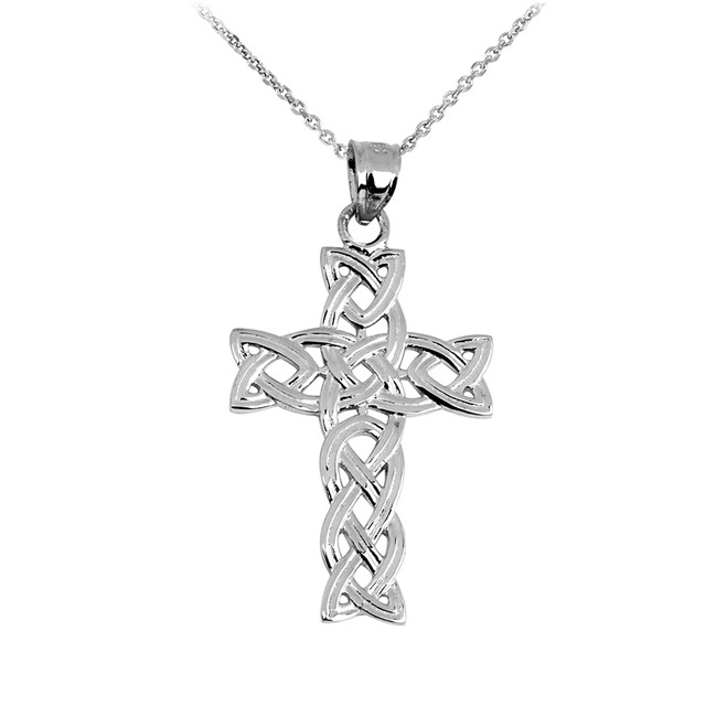 Silver Irish Trinity Cross Pendant Necklace