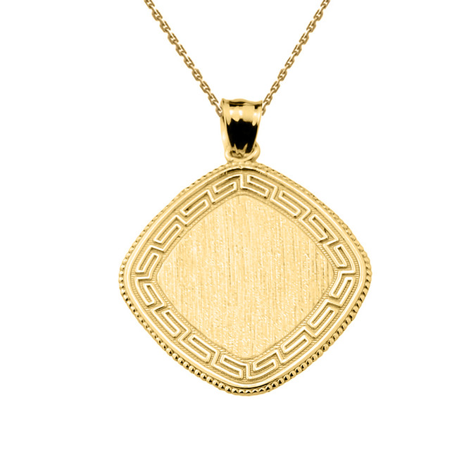Greek Key Yellow Gold Engravable Charm Pendant
