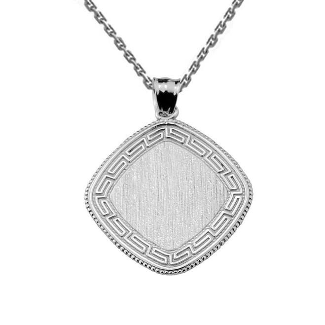 Greek Key Sterling Silver Engravable Charm Pendant
