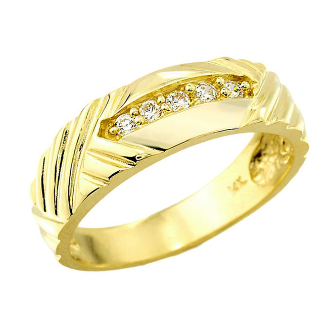 Solid Gold Men's Diamond Wedding Band