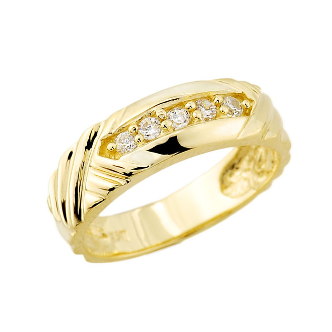Solid Gold Ladies Diamond Wedding Band