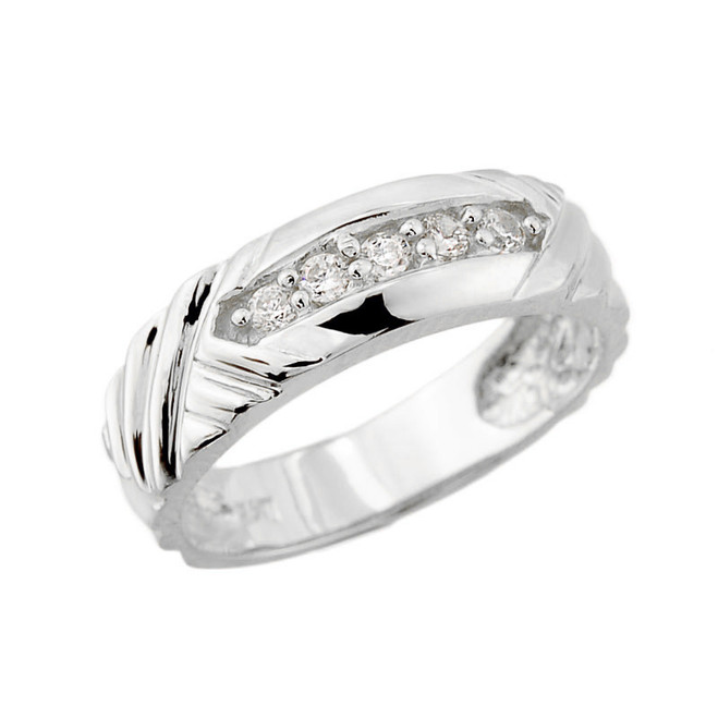 White Gold Ladies Diamond Wedding Band