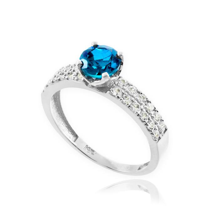 Blue Topaz Gemstone White Gold Diamond Pave Engagement Ring
