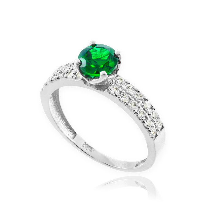 Genuine Emerald White Gold Diamond Pave Engagement Ring