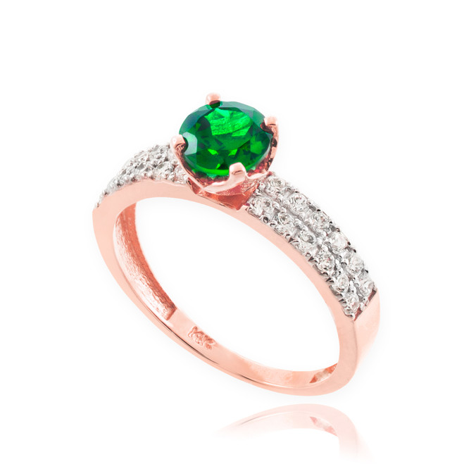 Genuine Emerald Rose Gold Diamond Pave Engagement Ring