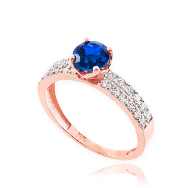Blue Sapphire Rose Gold Diamond Pave Engagement Ring