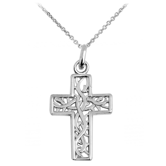 Silver Celtic Irish Trinity Cross Pendant Necklace