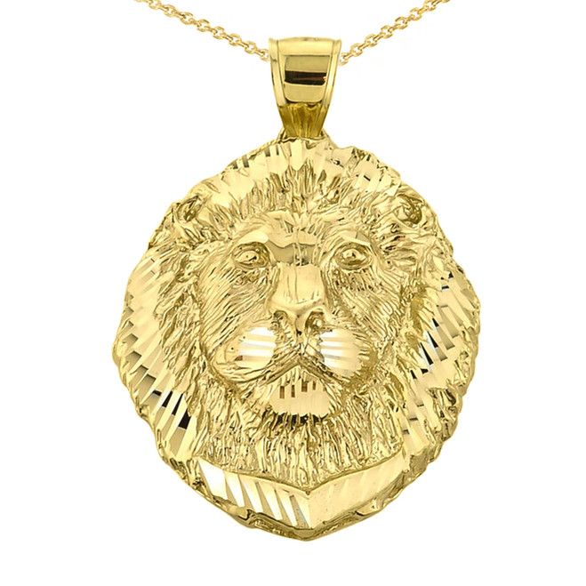 Diamond Cut Lion Head Pendant Necklace in Yellow Gold