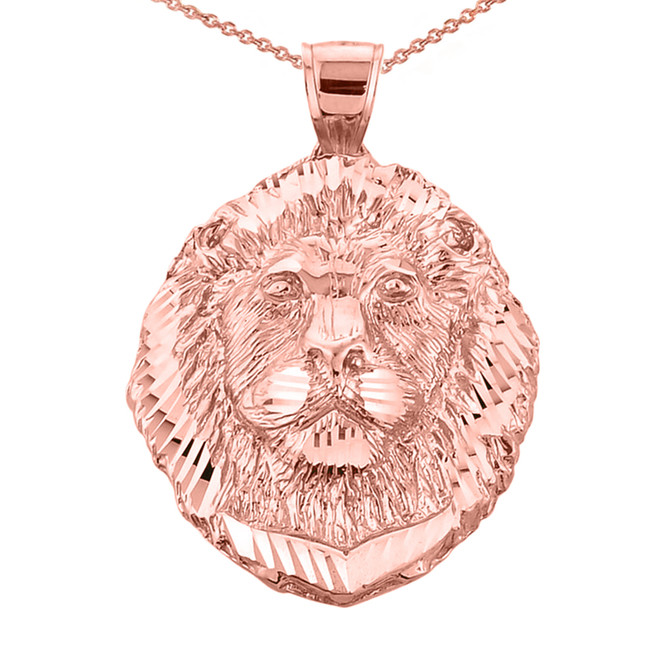 Diamond Cut Lion Head Pendant Necklace in Rose Gold