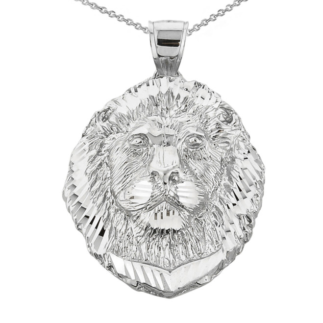 Diamond Cut Lion Head Pendant Necklace in Sterling Silver