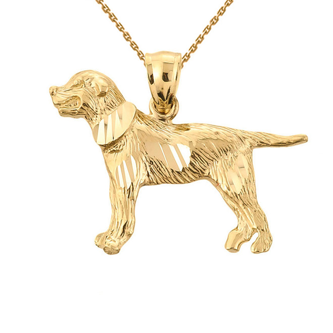 Yellow Gold Diamond Cut Greater Swiss Mountain Dog Pendant