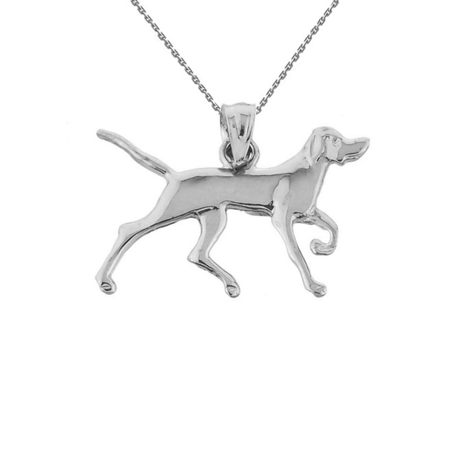 Solid White Gold German Short-Haired Pointer Pendant