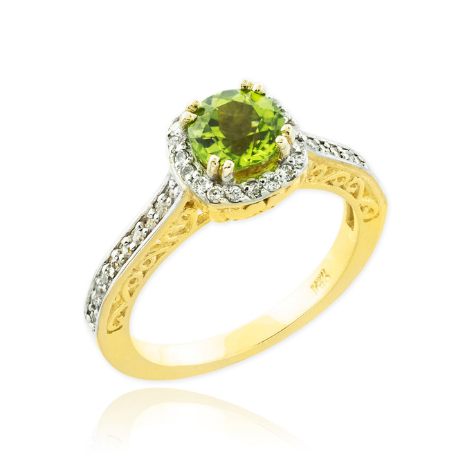 Gold Peridot Halo Diamond Pave Engagement Ring