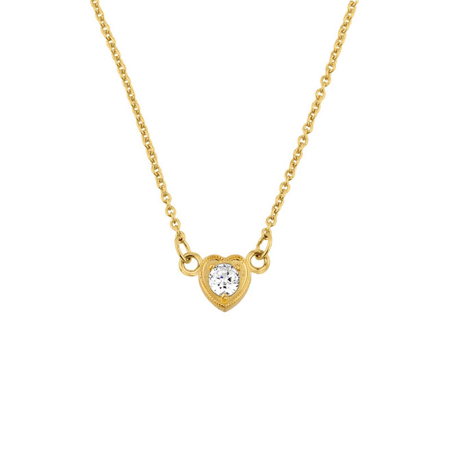 14K Gold CZ Dainty Heart Necklace