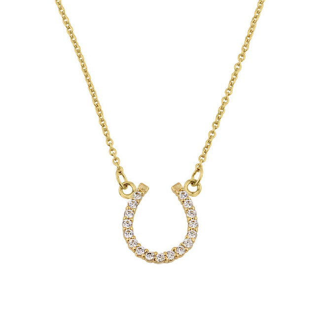 14K Yellow Gold Cubic Zirconia Horseshoe Necklace