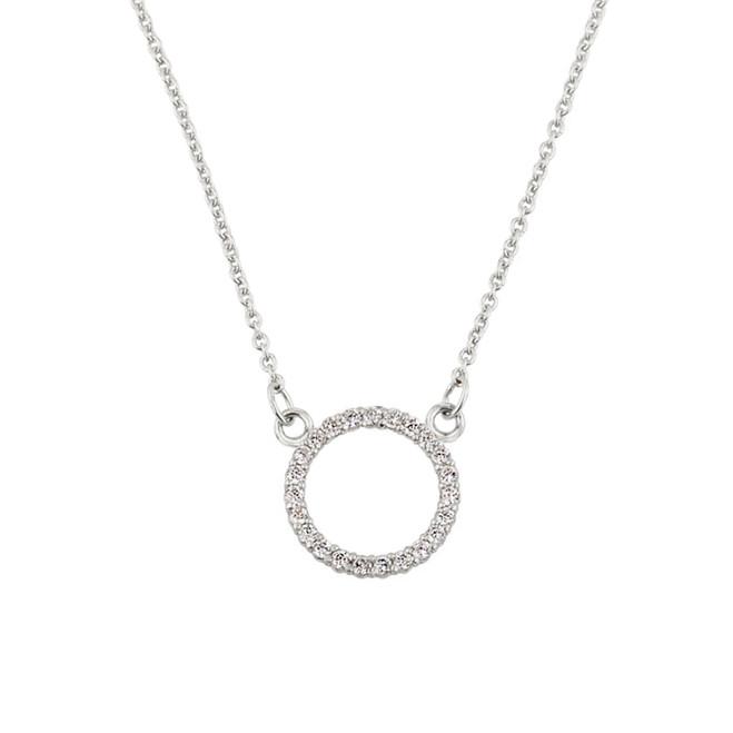 14k yellow gold circle of love cubic zirconia necklace 14k white gold circle of love diamond necklace aloadofball Choice Image