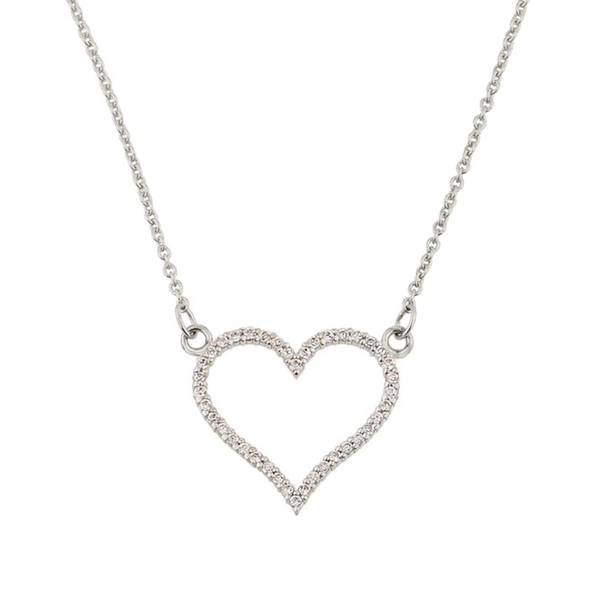 14K White Gold Diamonds Studded Open Heart Necklace