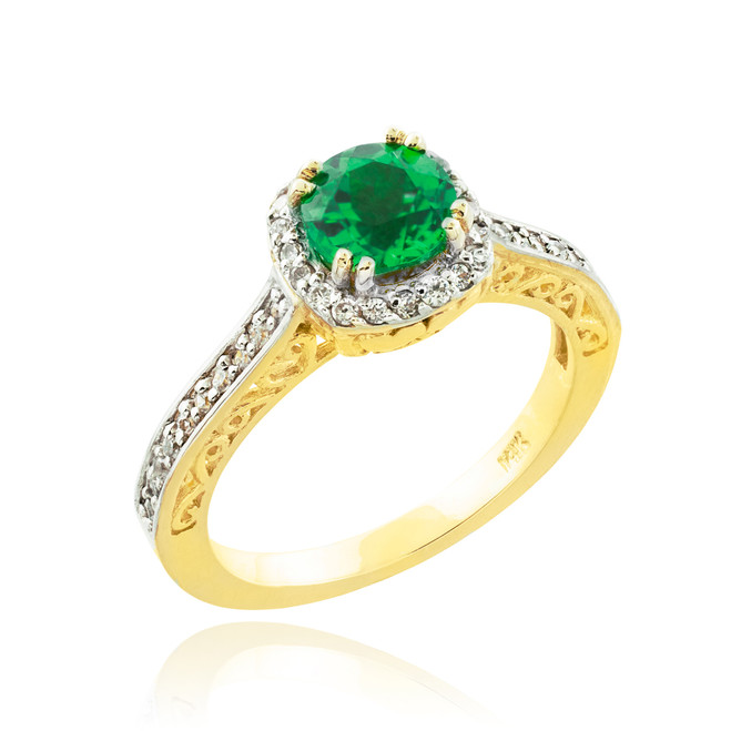 Gold Halo Pave Diamond Emerald Engagement Ring