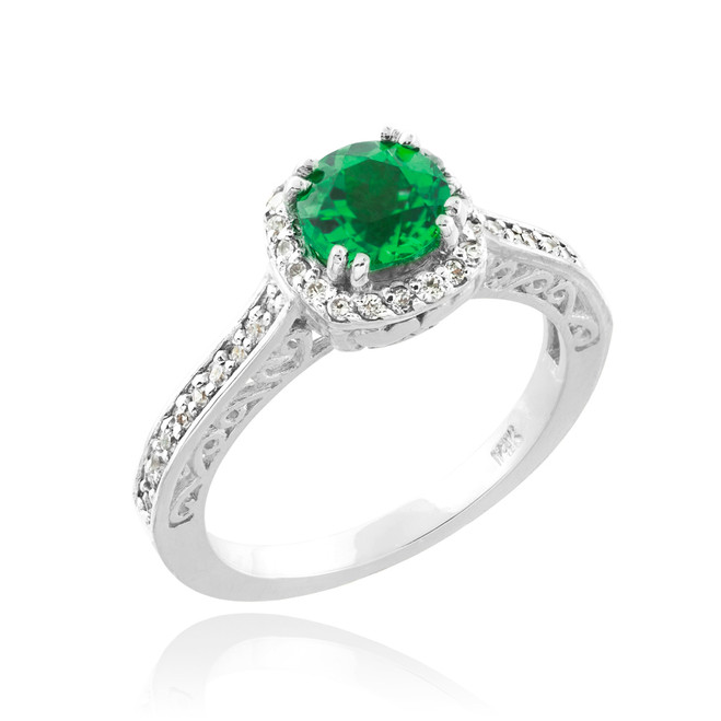 White Gold Halo Pave Diamond Emerald Engagement Ring