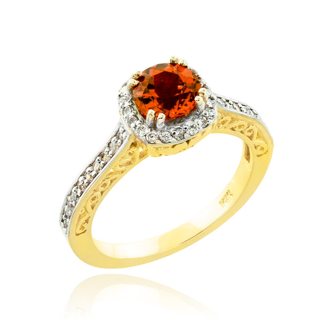 Garnet Birthstone Halo Diamond Pave Gold Engagement Ring