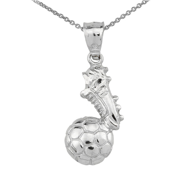 925 Sterling Silver Soccer Ball With Shoe Charm Pendant Necklace