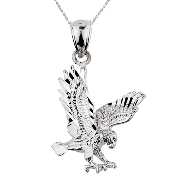 Solid White Gold Diamond Cut Eagle Charm Pendant Necklace