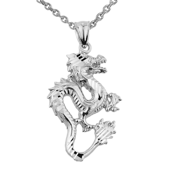 Sterling Silver Diamond Cut Dragon Charm Pendant