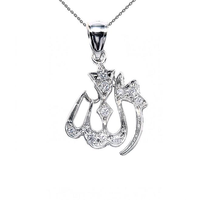 Sterling Silver Allah CZ Pendant Necklace
