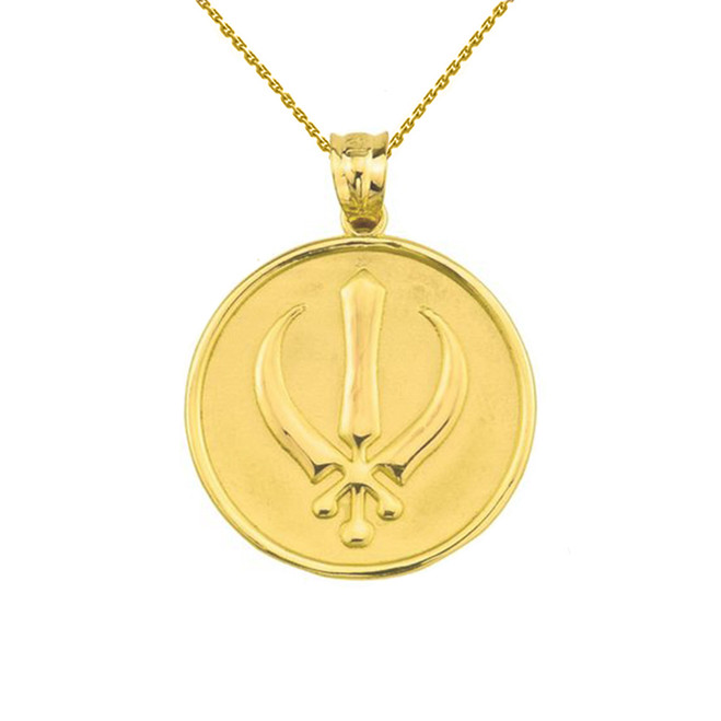 Solid Yellow Gold Sikh Charm Pendant