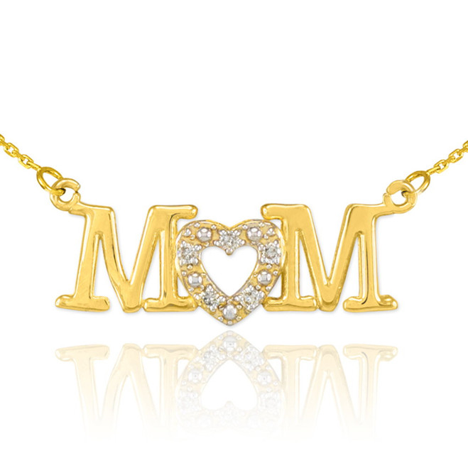 14K Gold MOM Diamond Studded Heart Horizontal Necklace